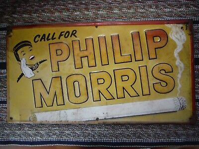 Vintage Philip Morris Cigarette Tin Embossed Advertising Sign Stout Sign Co