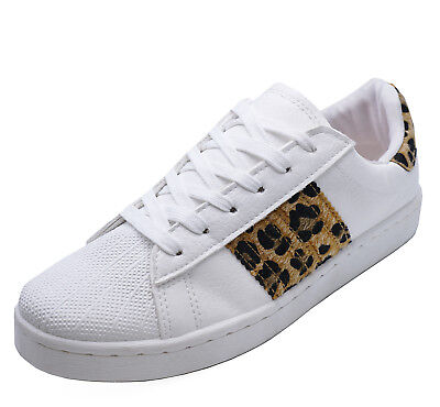 Ladies White Leopard Trainers Sports Lace-Up Plimsoll Pumps Casual Shoes Uk 3-8