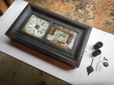 Antique Waterbury OG Ogee Weight Driven Large Wall Clock Beautiful!