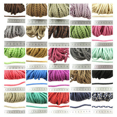 6mm PLAITED FAUX SUEDE CORD *40 COLOURS* CRAFT JEWELLERY MAKING LEATHER BRACELET