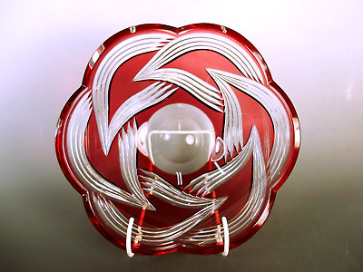 Val St Lambert Ruby Over Clear Glass Bowl