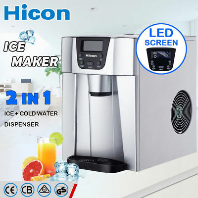 2 in 1 Auto Ice Cube Maker Benchtop Portable Freezer Water Dispenser Max 15KG