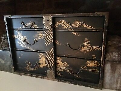 Japanese antique lacquered table cabinet 34cm, 5 drawers and locking bar