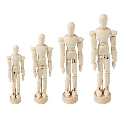 Baoblaze Wooden Manikin Unpainted Posable Drawing Sketching Model With Stand