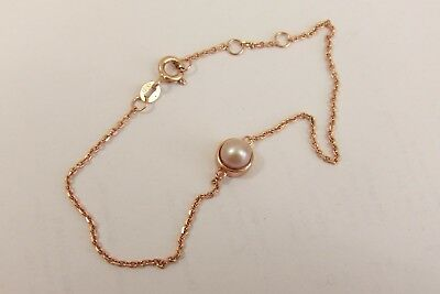 """Beautiful Rose Gold on Sterling Silver Fine Bracelet with Pearl Gem 8"""" Long"""
