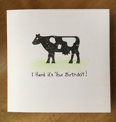 Handmade Birthday Card Child Friend Farmer Cow Boy Girl Man Son Dad Brother