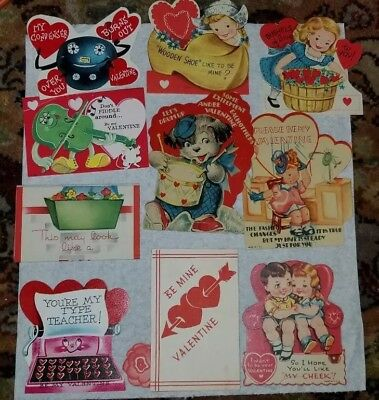 Lot Of 10 Vintage Childrens Valentine Cards Dog Teacher Great Condition