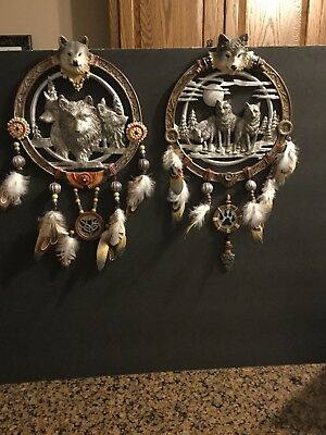 Bradford Exchange Limited edition Wolf Dream Catchers (2) Tribal Dreams 2008