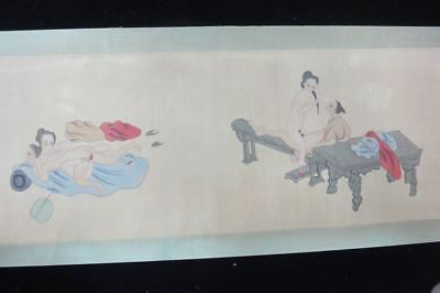 """Very Long Old Chinese Scroll 100% Hand Painting Sexy Erotic People """"ChunGongTu"""""""