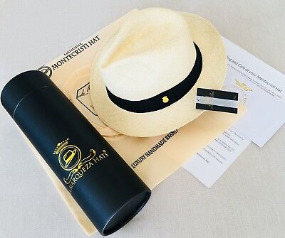 d2314643f39903 🥇New Genuine Montecristi Panama Hat Rollable Handmade Ecuador Travel Tube  Uk