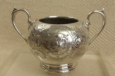 """Beautiful Victorian Embossed Decorated Silver Plated Sugar Bowl 7"""" x 3 3/4"""""""