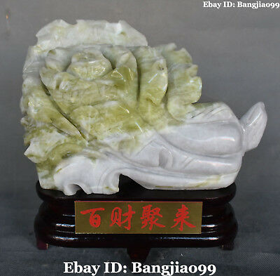 "11"" High Quality Top Natural Green Jade Wealth Baicai Cabbage Bok Choy Bai Cai"