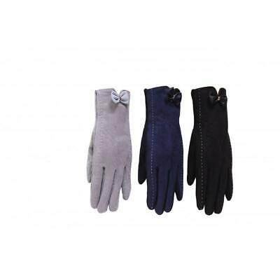 Lovely Suede Effect Ladies Gloves with Leather Bow & Saddle Stitching