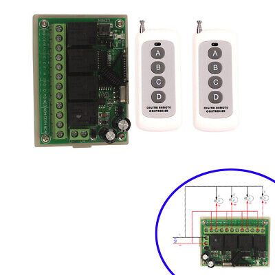 Wireless Control 4CH Relay Switch 100M Transmitter + Receiver DC 12V 433/315MHz