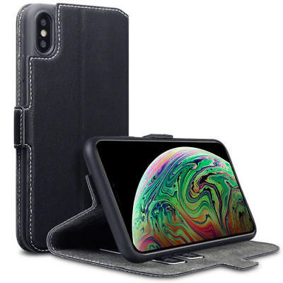 Terrapin Low Profile PU Leather Wallet Case for Apple iPhone XS Max - Black