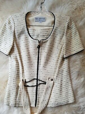 ST JOHN COLLECTION by Marie Gray Cream & Black  JACKET and SKIRT set, size 4