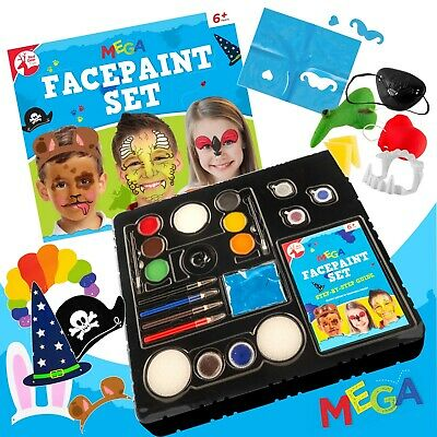 36pc Kids Facepaint Set Fancy Dress Halloween Professional Paint Brush Makeup