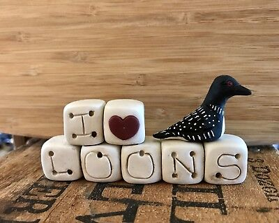 Primitive Folk Art Handmade Ooak Polymer Clay I Love Loons Blocks