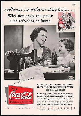 Vintage magazine ad COCA COLA Always so Welcome Downtown 1935 n-mint condition
