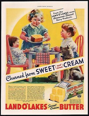 Vintage magazine ad LAND O LAKES SWEET CREAM BUTTER kids pictured 1935 n-mint