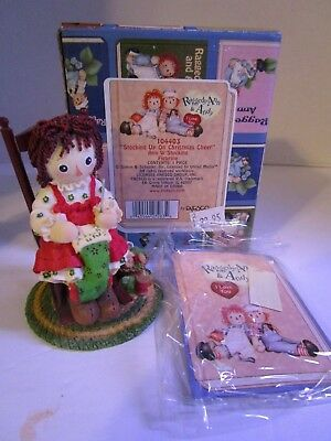 Raggedy Ann & Andy Figure ~  Stocking Up On Christmas Cheer ~ #104403 Enesco New