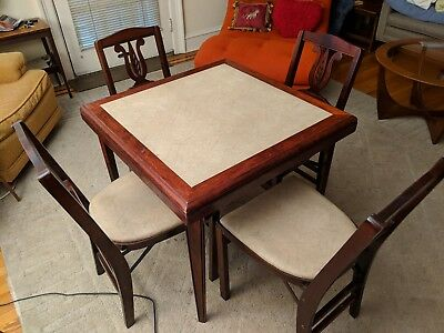 Stakmore Antique Vintage Folding Card Table and 4 Chairs, Excellent Condition