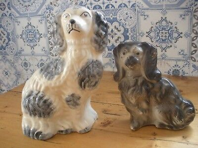 Staffordshire Pottery spaniel dogs wally dogs spaniels