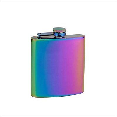 The Mixology Collection Stainless Steel Hip Flask in Rainbow Irridescent Design