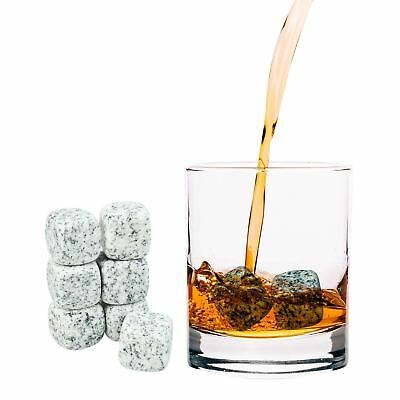9 x REUSABLE WHISKEY STONES ICE CUBES GRANITE COOLING STONES + VELVET POUCH NEW