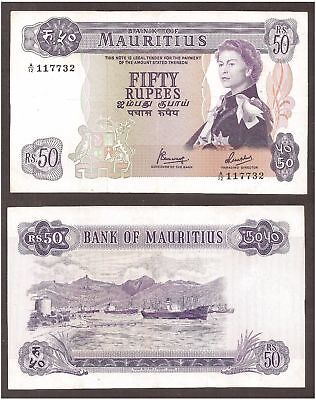 MAURITIUS 1967 P-33c 50 rupees sig.4 Ships XF+ superb - US-Seller