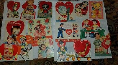 Vintage Valentine Cards Posable Litho Diecut Boy Girl Dog Cat USED Lot of 15