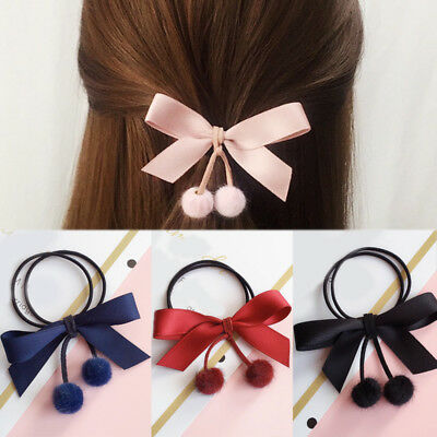 Elastic Women Bow Hair Rope Ring Hair Band Ties Pompom Scrunchie Ponytail Holder