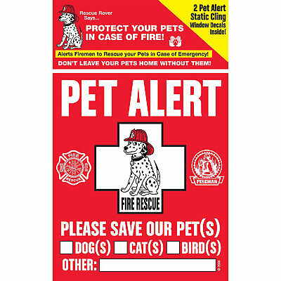 Pet Safety Alert Rescue Rover Pet Alert Fire Rescue Decals, Pack of 2 decals, 4""