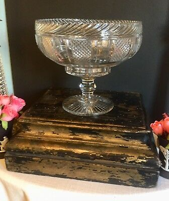 Antique Anglo Irish Cut Crystal Bowl Compote