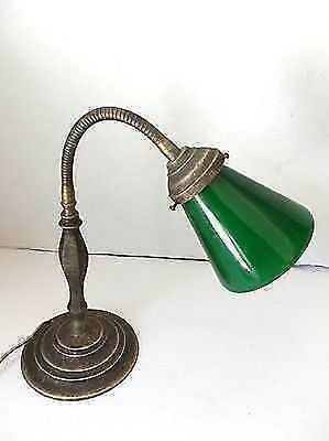 Table lamp office desk brass and glass green banker