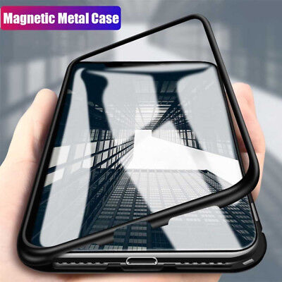 Full Metal Magnetic Adsorption Tempered Glass Case Cover For iPhone Xs MAX XR