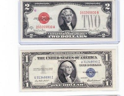 1928G $2 red seal United States Note & 1935F $1 silver certificate lot of 1 each