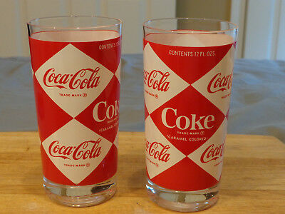 Vtg 2 Coca Cola Diamond Glasses, 1960's, Promotional A& Hard To Find