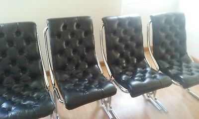 Daystrom mid-century modern vintage tufted black vinyl & chrome chair-set of 6
