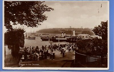 Old Vintage Rp Postcard Cowes In The Season Isle Of Wight Boats