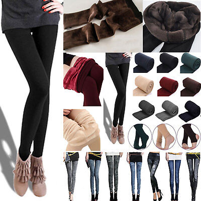 Women's Thermal Thick Warm Fleece lined Fur Winter Tight Pencil Leggings Pants