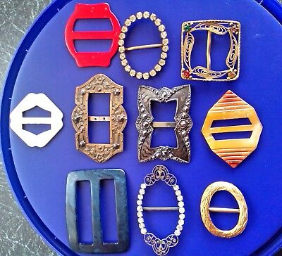 Collection Vintage & Art Deco Jewelery Mixed Job Lot Of 10 Gorgeous Buckles