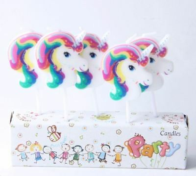 UK Unicorn birthday cake topper candles party girls white pink decoration