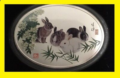 2011 China 1 Oz Oval Colorized Pure Silver Lunar Rabbit In Mint Capsule.