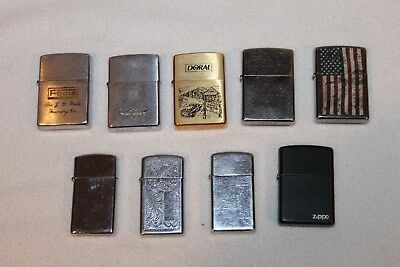 LOT of 9 VINTAGE ZIPPO LIGHTERS ALL WORKING