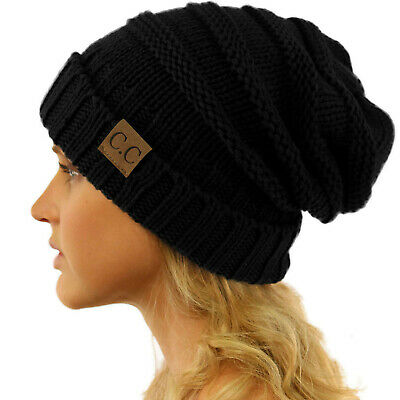 b80198f8085 CC Winter Trendy Warm Oversized Chunky Baggy Stretchy Slouchy Skully Beanie  Hat