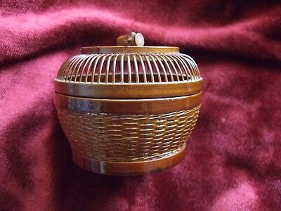 Mystery Tiny Lacquered Wicker Basket With Lid 4 x 3 Inches Intricate Unusual