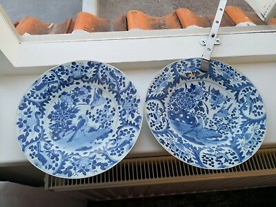 pair of antique chinese blue and white plate kangxi period 25cm