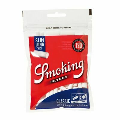120x Filtros de Algodón para Tabaco de liar Smoking Slim Long (22x6mm)