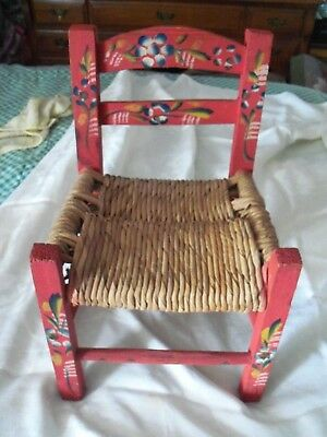"""Vintage Hand Painted Wood Chair - Wicker Rattan - Doll - Children's Seat - 16"""""""